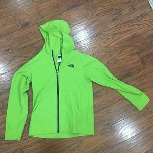 Green North Face Zip Up Jacket